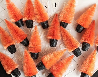 Halloween Trees - 4 Inch Orange Dyed Bottle Brush Trees in Black Spun Cotton Pots, 3 Pcs.