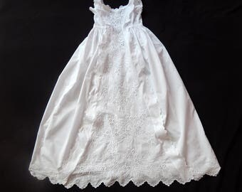 Exceptional French Handmade Christening Gown with Fine Hand Embroidery