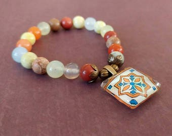Stretch Tile Charm Bracelet, Multi Gemstones, Spanish, Mexican, Catalina and Mediterranean Tile Inspired with Gold Plated Brass Accents