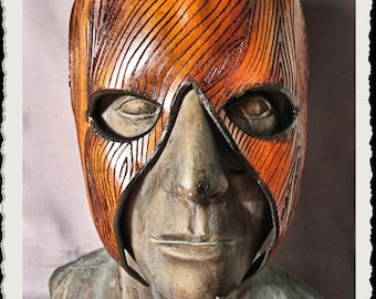 Wooden leather mask