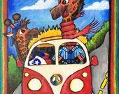 Giraffes in VW Van Art Print