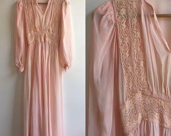 1960s Sheer Pink Wedding Gown