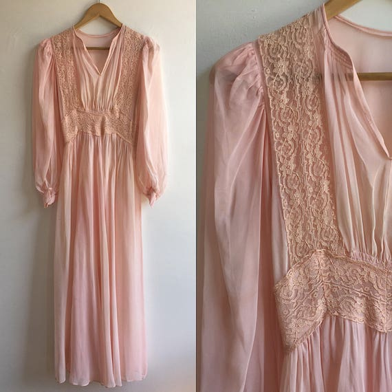 1940s Sheer Pink Wedding Gown