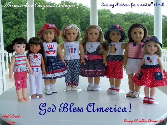 "2 Sizes! XL PRINTED Sewing Pattern: God Bless America! / Sewing Pattern for BOTH 18"" American Girl  and 14"" Wellie Wishers®"