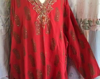 EXTRA LARGE, Blouse Beaded Flowerchild Boho Hippie Bohemian Red Cotton Tunic Top