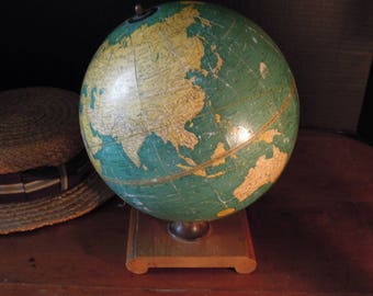 Vintage Antique 1930's Cram's Universal Terrestrial Globe  / Library Display / George F Cram / Tabletop globe 9 inch / Antique World Globe