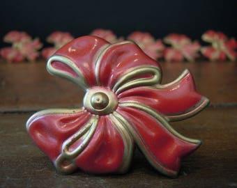 Seven Vintage Pink Enamel Tie Back Tacks / Bow Curtain Tie Back Holders / Push Pins / Bulletin Board