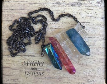 Crystal Cluster Necklace, Quartz Crystals, Aura Quartz, Rainbow Necklace, Rainbow Crystals, Cluster Necklace, Chakra Necklace, Witch Gypsy