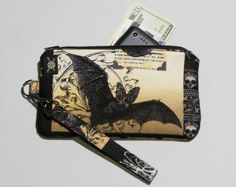 Gothic Antique Nevermore Bat Phone Purse Wristlet, Zipper Pouch, Wallet Wristlet, Detachable Strap, Black Brown