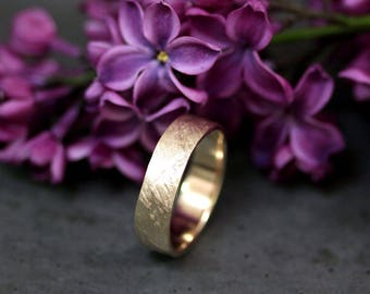 Crash Ring - Man Wedding Band 6mm Wide Rustic Rough 14k Recycled Yellow Gold Mens Eco Wedding Ring - Custom Made to Order in Your Size