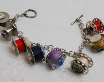 Vintage Bobbins & Buttons Charm Bracelet