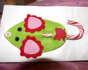 Cute green felt mice candy cane holder Christmas ornaments - xmc1