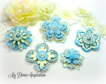 Basic Grey Piccadilly Light Blue and Ivory Paper Embellishments and Paper Flowers for Scrapbook Layouts Cards Mini Albums Tags Paper crafts