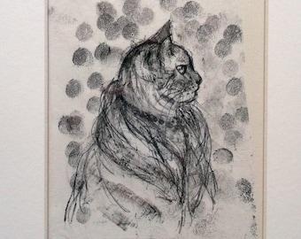 "Tabby Cat - ""Madame Katsky"" - Original Monoprint - OOAK"