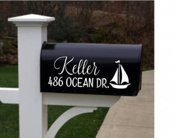 20% OFF Sailboat Mailbox Personalized Address Vinyl decals front porch beach lakehouse home  wall decal  stickers decor dining room  numbers