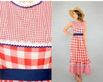 SUMMER SALE 80's Gingham Maxi Dress
