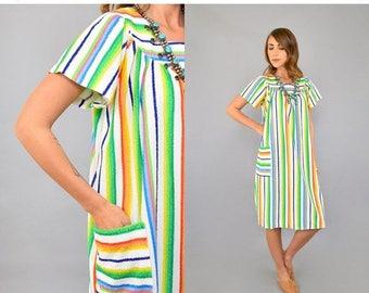 SUMMER SALE Rainbow Stripe Terry Cloth Dress