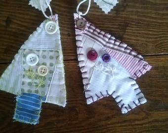 set of two tree ornaments made from antique quilt farmhouse