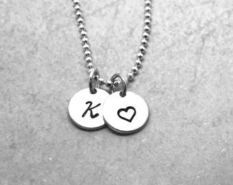 Initial Necklace, Personalized Heart Necklace, Sterling Silver, Hand Stamped Jewelry, Personalized Jewelry, Mother's Necklace, Letter K
