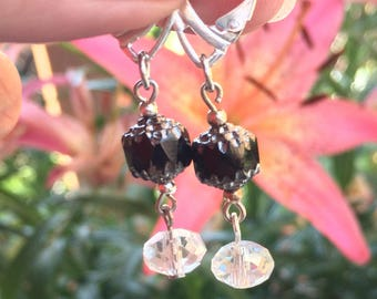 Black and gold cathedral beads with crystal rondel earrings