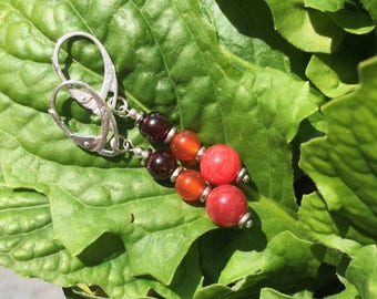 Garnet and carnelian earrings