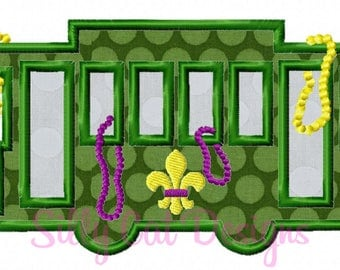 New Orleans Street Car Mardi Gras Embroidery Applique Design