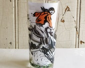 Mid-Century Cowboy and Cowgirl Rodeo Glass Tumbler - 1950s Cowboy on Bucking Bronco Horse Beverage Glass - Western Theme Vintage Barware