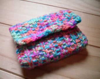 Knitted Coin Purse, Bright Multi Coloured change purse.