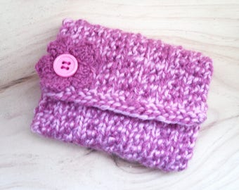 Coin Purse, Hand Knitted, Pink with Decorative Flower