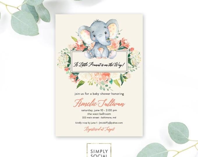 Peach Floral Elephant Baby Shower Invitation - It's a Girl Watercolor Elephant Modern Baby Shower Hydrangea Peony Little Peanut Printable