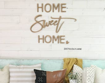 Home Sweet Home Wood Cutout| Wall Decor | Word Art Wood Cutout Typography Wood Sign