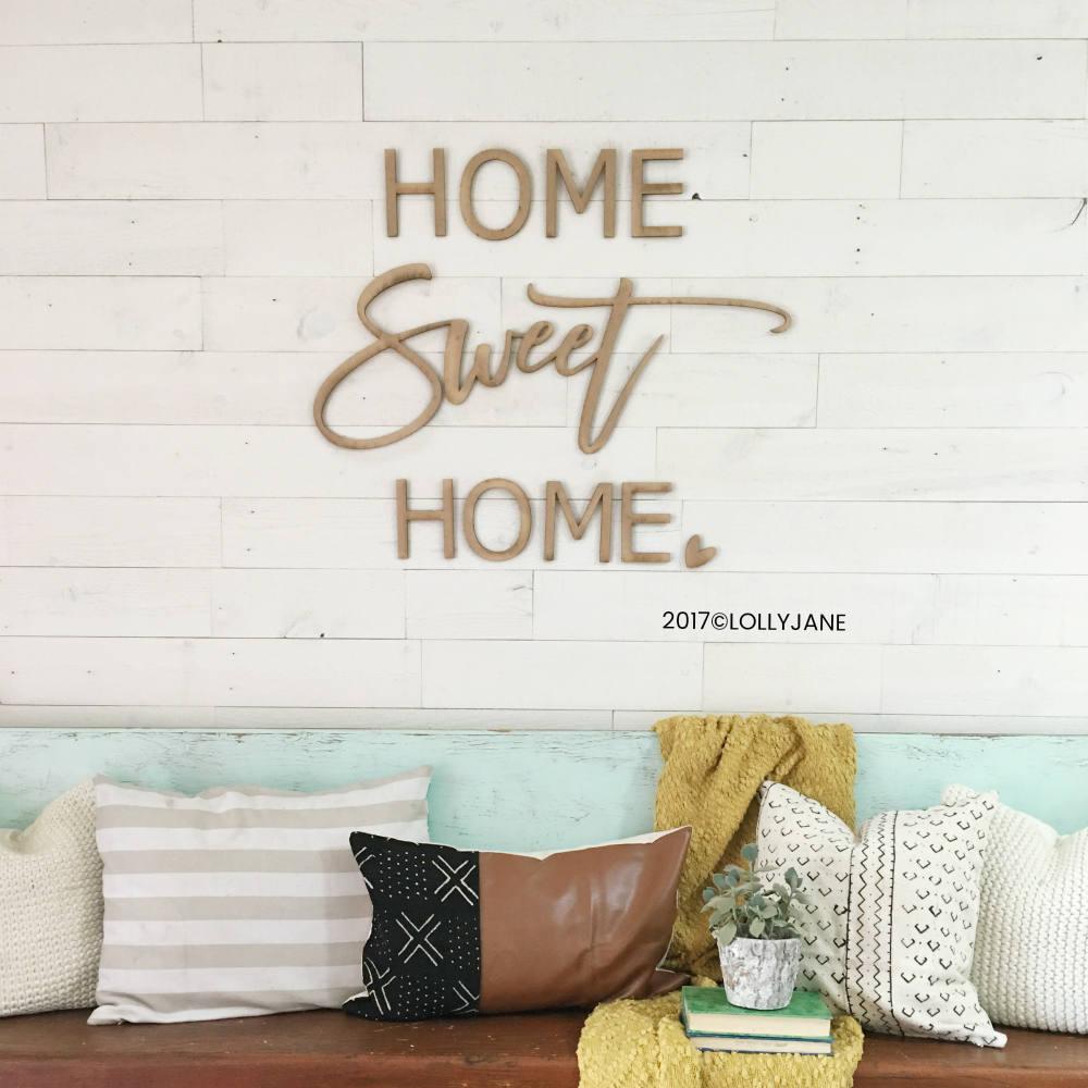 home sweet home wood cutout wall decor word art wood cutout