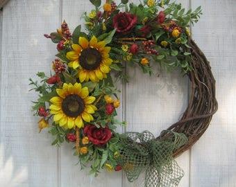 Sunflower Wreath//Fall Wreath//Front door Wreath//Grapevine Wreath//Autumn Wreath
