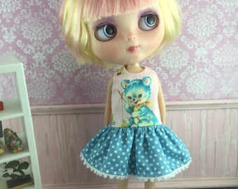 Blythe Drop Waist Dress - Retro Blue Bear