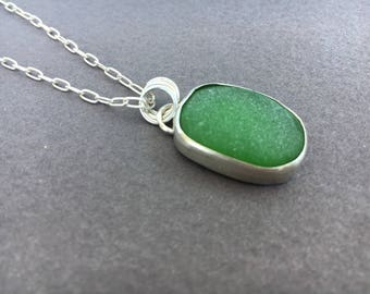 Sea Glass Necklace, Silver Sea Glass Necklace