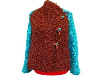 Boho Women's Sweater, Boho Clothing, Chunky Sweater, Sweater Jacket, Warm Sweater, Bohemian Sweater,  Funky Sweater, Warm Winter Sweater