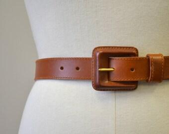 1990s Saddlebred Brown Leather Belt