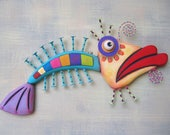 Fish Wall Art, Rainbow Trout 2, Original Found Object Wall Sculpture, Wood Carving, Marine Art, Whimsical Art, by Fig Jam Studio