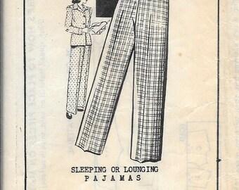 Vintage 1940s Mail Order 1903 Sleeping Or Lounging Pajamas Sewing Pattern Pants Jacket Top Size 18 Bust 36