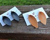 Magnolia Inspired Leaf Earrings - Leather Leaf Earrings - Boho Earrings