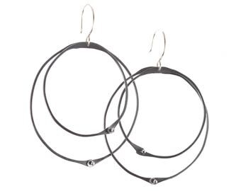 Oxidized Funky Hoop Earrings