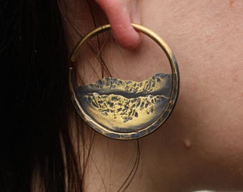 Small Hammered Brass Mountain Landscape 10 Gauge Hoop Earrings for Stretched Ears Landscape Mountain 10g Hoops for Nature Lover Ear Weights