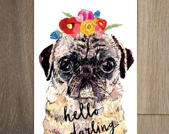 Pug postcard set - 8 pack- flower crown