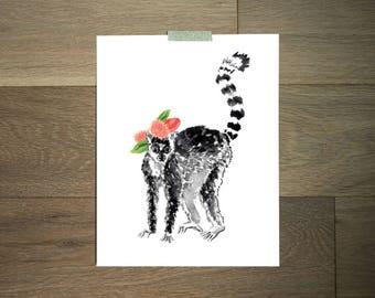 Watercolor animal art print - 8 x 10 - black and white - lemur - flower crown