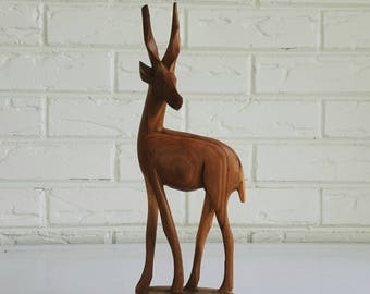 Vintage Carved Wood Gazelle Statue - Wooden African Figurine Animal - Global Bohemian Decor