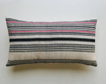 Pink and Black Striped Hmong Throw Lumbar Pillow Cover - Modern Minimalist Pillow
