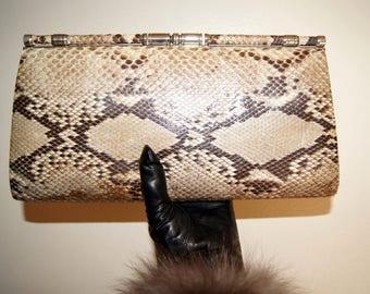 1970's Python Snake Skin Leather Evening Bag