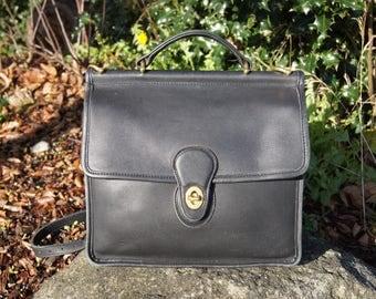 Authentic Coach Black Leather Willis Cross Body Bag
