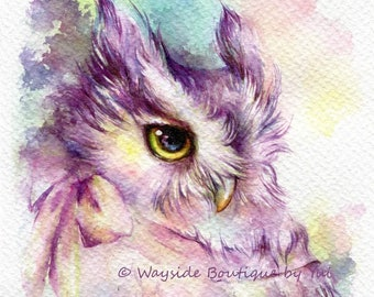 """PRINT – Owl with bow Watercolor painting 7.3 x 11"""""""