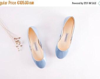 Summer Sale Blue Patent Leather Ballet Flats   Ballerina Shoes   Something Blue   Chic Unique   Urban Ballerinas   Porcelain Blue......Ready